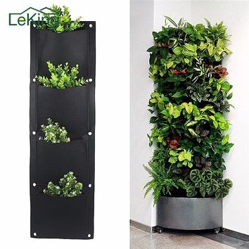 4 And 7 Pocket Felt Vertical Gardening Flower Hanging Pots Planter On Wall Garden Green Field Living Indoor Wall Planter Outdoor