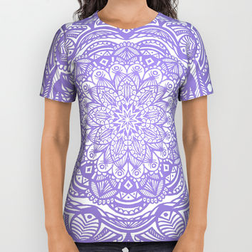 Violet Purple Mandala Detailed Ethnic Tribal Pattern All Over Print Shirt by AEJ Design