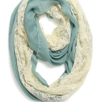 With Love From CA Lace Inset Scarf - Womens Scarves - Green - One