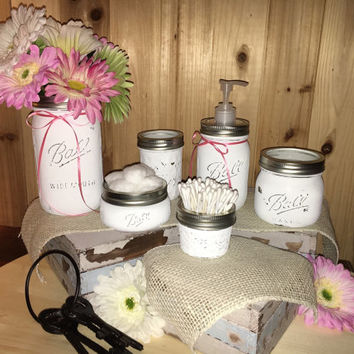 6 Piece Distressed Mason Jar Bathroom Set Unique and Rustic White Cottage Shabby Chic Farmhouse Wedding House warming gift