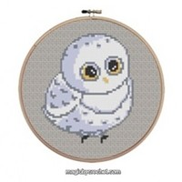 Baby Owl Cross Stitch Chart Pattern, PDF instant download, No.016, C2C Crochet Graph