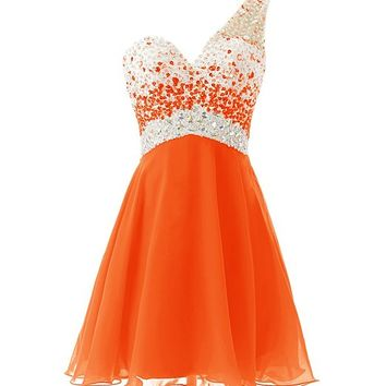 Dresstells® One Shoulder Homecoming Dress with Beadings Short Bridesmaid Dress Orange Size 2