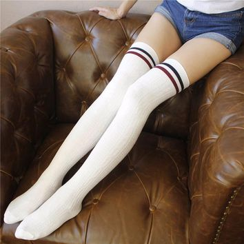 New Fashion Striped Knee Socks Women Knit Cotton Over The Knee Long Striped Thigh High Socks