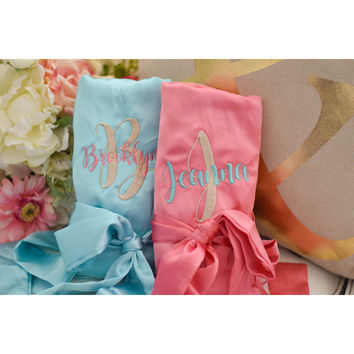 Personalized Satin Bridesmaid Robe with Lace - Bridal Party Gifts