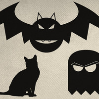 Holloween Set Three Items Cat, Bat, And Ghost silhouette Iron On Tote Bag Pillow Sheet Burlap Transfer  Graphic Digital Download No. H1