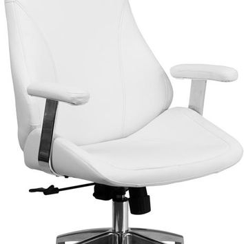 High Back White Leather Smooth Upholstered Executive Swivel Office Chair with Arms [BT-90068H-WH-GG]