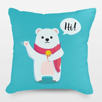 Polar Bear Says Hi Throw Pillow by Playedonwalls on BoomBoomPrints