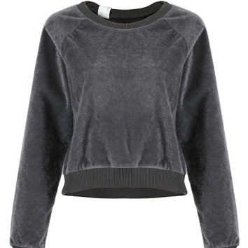 Grey Fluffy Cropped Sweatshirt