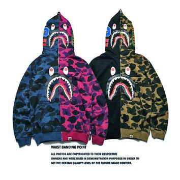 ONETOW Sky Blue BAPE Print Long Sleeve Zipper Shark Hoodies Sweater Coat