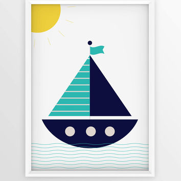 Nursery Nautical Print | Baby Boy Wall Decor | Kidsroom Wall Art | Large print 50x70 cm