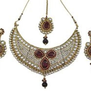 Bollywood Style Bridal Neklace Ruby Red White Stone Kundan Necklace Earring Set | Mogul Interior