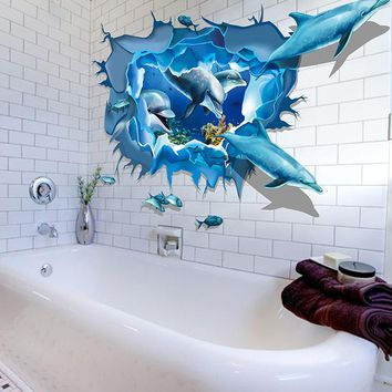 2017 Hot Sale Removable Dolphin 3D Sea Ocean Stickers Wall Decal Mural DIY Decor Kid Room Art Adesivo de parede D38JL24