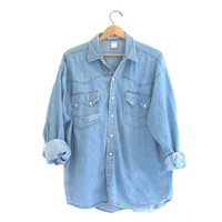 vintage Denim Shirt / Faded and distressed Jean Shirt with Pearl Snaps / Western Washed Out Shirt.