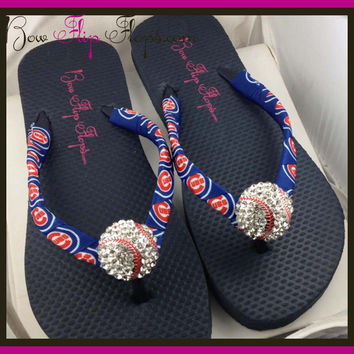 Cubs Ribbon Baseball Flip Flops with Chicago Bling Rhinestone Baseball