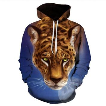 Newest Fashion Womens/Mens leopard Moon Funny 3D Print Casual Hoodies Pullovers Sweatshirts LMS00074