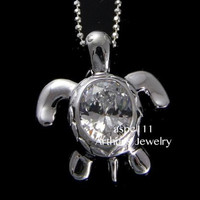 STERLING SILVER 925 HAWAIIAN SEA TURTLE PENDANT OVAL WHITE CLEAR CZ 17.8MM