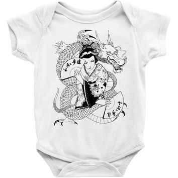 japanese dragon Baby Onesuit