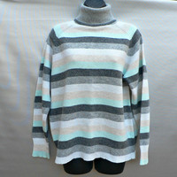 UK Debenhams Wool Blend Turtleneck Sweater - Maine New England Line - Super Soft - Cute Stripes! - Womens Size 18 L