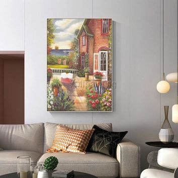 Abstract painting Oil painting on canvas art texture garden green floral painting wall Pictures Hand painted original art cuadros abstractos