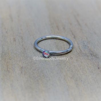 "20g nose piercing hoop 5/16"" tiny 2mm aurora borealis gemstone stainless steel helix seam ring"