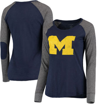 Michigan Wolverines Women's Preppy Elbow Patch Slub Long Sleeve T-Shirt - Navy