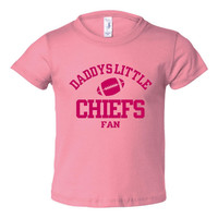 Daddys Little Chiefs Fan Toddler And Youth T-Shirt Kansas City Fans Printed Tee for Kids Creepers & T-Shirts. Makes a Great Gift!!