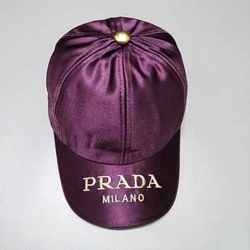 PRADA Newest Stylish Women Men Embroidery Sports Sun Hat Baseball Cap Hat Purple