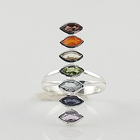Multi Gemstone Sterling Silver Marquee Line Chakra Ring - keja jewelry