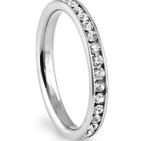316L Stainless Steel White Cubic Zirconia CZ Eternity Wedding 3MM Band Ring up to size 12 Comes with FREE Gift Box: Jewelry: Amazon.com