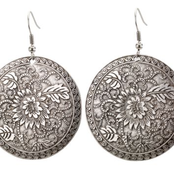 Vintage Turkish Floral Engraved Disc Earrings