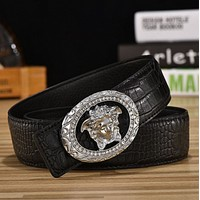 Versace new listing leather belt men leather belts leather belt fashion casual smooth buckle Gold buckle