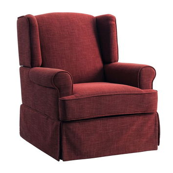 Marlena collection red linen like fabric upholstered swivel wing back rocker chair