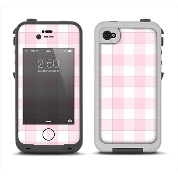 The Light Pink and White Plaid Pattern Apple iPhone 4-4s LifeProof Fre Case Skin Set