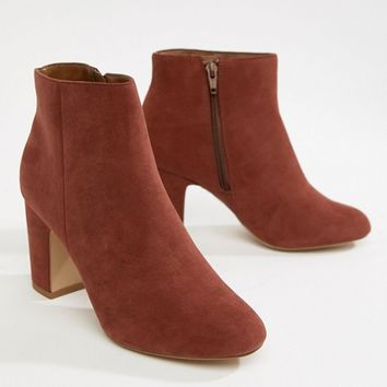 New Look Wide Fit Suedette Block Heel Boot at asos.com