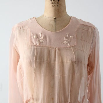 SALE antique silk blouse, Edwardian pink top