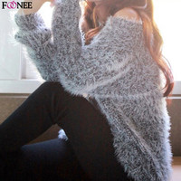 Autumn Fashion Women Casual Knitted Sweater Pullovers Tops Ladies Knit O-neck Long Sleeve Pullover Loose Wool Sweaters