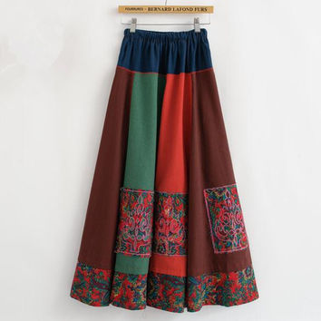 Colorful Embroidery Floral Linen Skirt