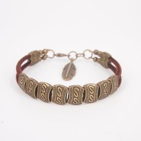 Handmade Ethnic Style Bronze Color Beaded Bangle with Feather Pendant Joint- Double Rows H0527