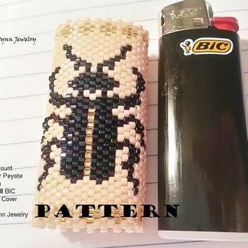 PATTERN Beetle Mini BIC Lighter Cover Even Count Tubular Peyote Chart DOWNLOAD Pattern