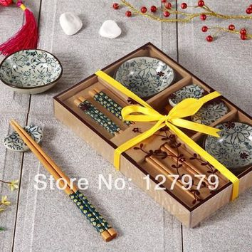 Chinese wind ceramic tableware set Japanese style dishes with gift boxes high-end sushi set