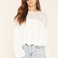 Lace-Paneled Peasant Top