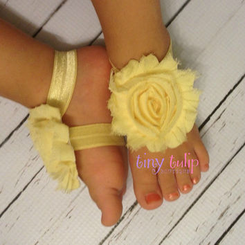 Baby Barefoot Sandals...Yellow Baby Barefoot Sandals...Baby Sandals