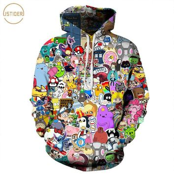 ISTider Harajuku Anime Cartoon Hoodies Adventure Time/Totoro/ Kawaii Clothes 3D Hooded Sweatshirt Sudaderas Mujer 2018Kawaii Pokemon go  AT_89_9