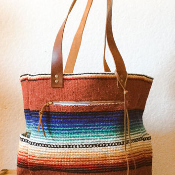 Rio Bravo Tote Bag / Mexican Blanket/ Festival Bag/ Diaper Bag