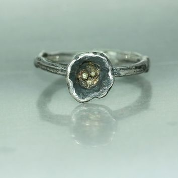 A Gold Silver Flower Twig Branch Womans Mans Organic Statement Ring Twig Ring