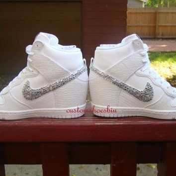 Custom White Croc Snake Nike Dunk Hi Wedges