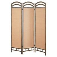 3-Panel Room Divider With Brown Cotton Blend Screens