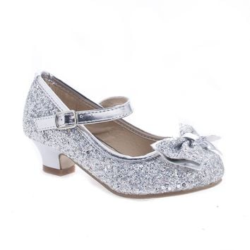 Quincy18 Silver Glitter By Sully's, Metallic Children's Girl Chunky Glitter Rock Bow Mary Jane Heels