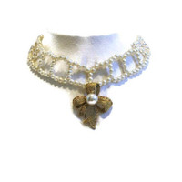 Pearl Choker Necklace With Gold Tone Rhinestone And Pearl Bow, Bridal Jewelry