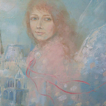 Oil Painting angel, original Painting, oils on canvas, Portrait Painting, Original Oil Painting, architecture Budapest, pastel colors